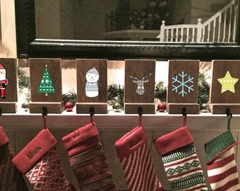 stocking holders, reclaimed wood, set of 6, rustic Christmas, fair isle stocking, mantle decor, stocking hooks, Christmas mantle, decoration