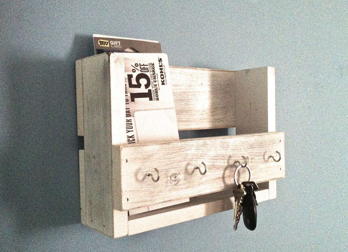 Rustic key holder mail organizer white key holder for Mural key holder