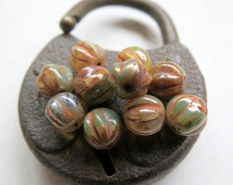 NEW CHAMPAGNE Mix MELONS . Czech Pressed Glass Beads . 6 mm (25 beads)