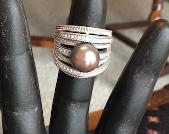 Faux Black Pearl Rhinestone Statement Ring Size 9