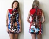 Ram Dress / Tapestry Dress / Animal Print Mini Dress Sz S