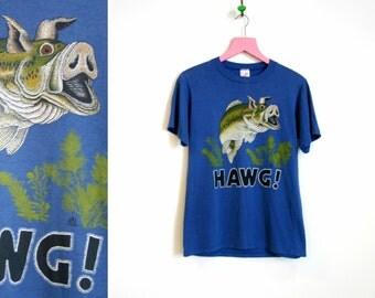 """Vintage 1985 """"HAWG!"""" Fishing T-Shirt by LSJ sportswear Unisex Size S-M"""