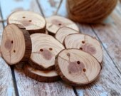 Wooden buttons 2 Holes, Eco Friendly Craft Supply, TAGT TEAM, Handcrafted buttons, Pine buttons