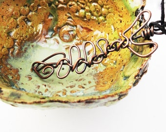 Copper Fish Necklace, Wire Wrapped, Simple Minimalist Copper Necklace, Wriggly Swirl, Beach Necklace, Fish Bones FISH6