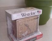 RESERVED ITEM for Randy Westclox Dunmar Drowse Dialite New Teak Grain Electric Snooze Alarm Clock