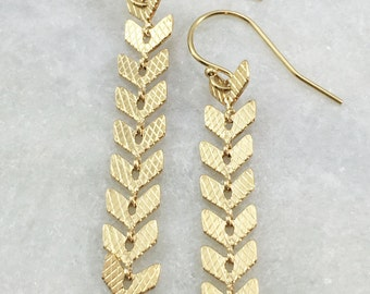 Gold Chevron Chain Earrings | Gold Plated | E31631