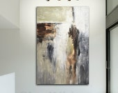 Extra Large Painting Original Modern 5 Foot Abstract Art Cream Taupe Gray Clay Rust Contemporary Art 40x60 HUGE Ready To Hang FREE SHIPPING
