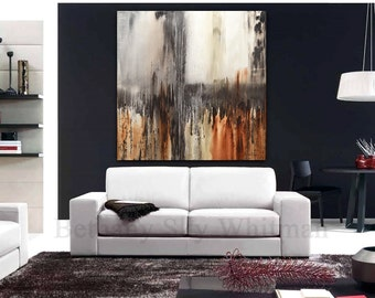 Original Abstract Painting Large Modern Art 48 x 48 Brown modern abstract oil painting Ready to hang by Sky Whitman FREE SHIPPING