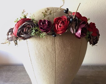 Rustic floral crown, holiday headpiece, burgundy flower crown, winter wedding, berry crown, woodland circlet, holiday hair accessories