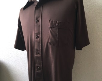 Vintage Men's 70's Disco Shirt, Brown, Polyester, Short Sleeve by JC Penney (L)