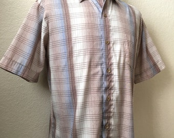 Vintage Men's 70's Disco Shirt, Polyester, Plaid, Short Sleeve by Spire (XL)