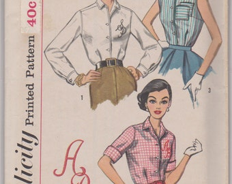 """Simplicity 2195 """"Misses' Blouse- Transfer for Alphabet Included"""" Size 16 Bust 36"""""""
