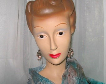 Vintage Earrings Glass Beads Openwork 1980s Costume Jewelry