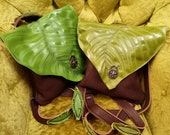 Leather Leaf Backpack Purse / Kiwi & Irish Green Dual Use LIGHTWEIGHT Leaves Tote Messenger Bag Brown Renaissance Faerie Forest Woodland
