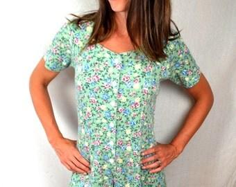 Vintage 90s Ribbed Summer Floral Romper Dress