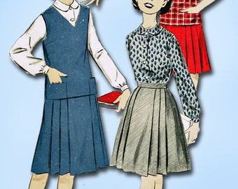 1950s Vintage Advance Sewing Pattern 8719 Easy Uncut Little Girls Suit Size 10