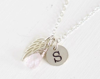 Personalized Infant Loss Jewelry with Pink Gemstone / Angel Wing Necklace / Stillborn Memorial / Gold or Silver