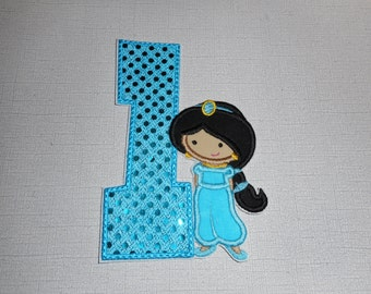 Free Shipping Ready to Ship Princess number 1   fabric iron on applique