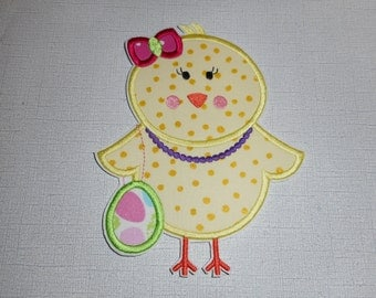 Easter Diva Chick   Ready to ship free shipping Machine Embroidery  Iron on applique