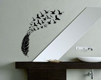 bird decal dorm room etsy. Black Bedroom Furniture Sets. Home Design Ideas