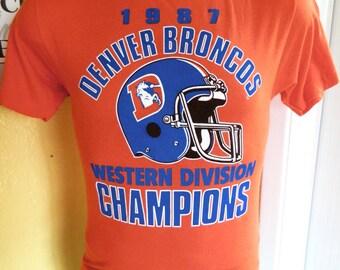 Denver Broncos 1987 Western Division Champs vintage t-shirt - orange tee size medium