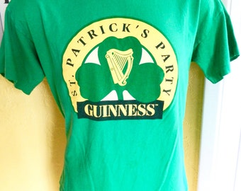 1980s Guinness Beer vintage tee shirt - kelly green t-shirt size large