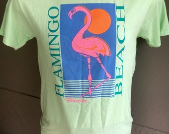 Flamingo Beach Florida vintage beach tee shirt size medium