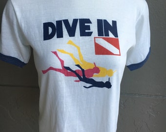 Dive In - 1980s vintage ringer tee shirt - size small
