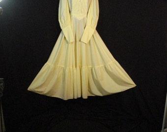 Yellow Boho Hippie Peasant Prairie Dress Long Full Vintage 70s Dress ML