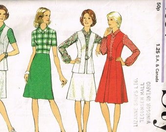Unique 70s Dress and Cardigan Pattern, Style 4594 Bust 34, Knee Length Dress and Cardigan with Front Buckle Vintage 1974 Sewing Pattern
