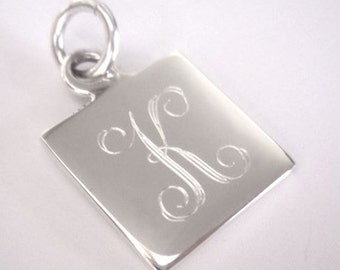 Engravable Sterling Silver Square Charm Name Charm Initial Charm
