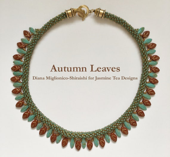 Autumn Leaves Beaded Kumihimo Necklace, Turquoise Topaz and Auburn Necklace, Antique Gold Necklace