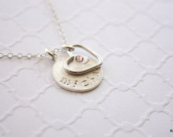 Mother's Necklace, Name Necklace, Personalized Necklace, Hand Stamped, Child's Name Disc