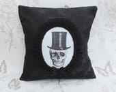 Skull top hat  pillow  cushion black damask floral
