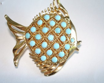 Vintage Jewelry Turquoise  Fish Animal Gold Tonel Brooch