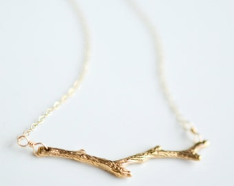 Gold Branch Necklace - Tree Layering Necklace - Gold Tree Branch Charm - Twig Necklace - Simple Minimalist Necklace