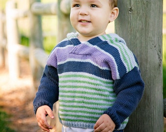 Boys Striped Hoodie -- Baby Sweater -- NEWARK STREET -- Blue, Purple, and Green Hoodie -- Hand Knit Sweater -- Baby Gift Baby Shower