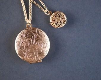 Multi Strand Layered Lockets, Multiple Strand Layered Locket Necklace, Two Pendants, Double Strand Gold Necklaces, Double Chain Gold Lockets