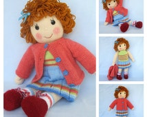 Knitting Pattern Large Rag Doll : Unique rag doll pattern related items Etsy