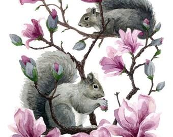 Fine Art Print of Original Watercolor Painting - Magnolia Thieves