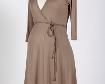 Taupe maternity wrap dress, beige maternity dress, maternity jersey dress, brown maternity dresses, maternity wear, viscose dresses