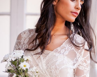 Lace Dress, Champagne Ivory Lace wedding dress, romantic bridal gown, vintage style wedding dress, long sleeved wedding dress, lace