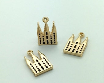 Salt Lake Temple Charms - Small LDS Temple Charm 20mm x 12mm double sided with jump ring - SLC temple charm - Choose silver or Gold