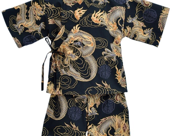 Kids Kimono Jinbei - GOLDEN DRAGON - Japanese pajamas loungewear boys kimono outfit boys pajamas