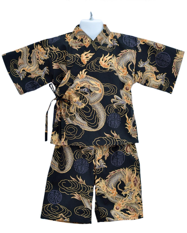 kids kimono jinbei golden dragon ese pajamas loungewear  kids kimono jinbei golden dragon ese pajamas loungewear boys kimono outfit boys pajamas