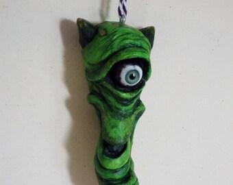 Halloween Ornament Cyclops Sid Wood Carving  Folk Art OOAK Green Monster