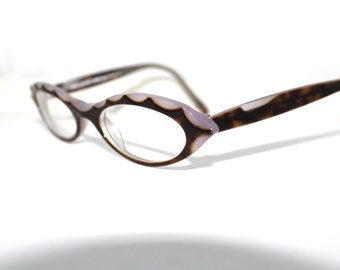 Jean La Font  Catseye Eyeglasses // Vintage Designer Frames // Oval // Paris, France // Lolita 48 17 142