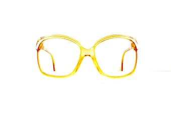 80s Zeiss Eyeglasses Frames Women's 1980's Translucent Yellow with white Detail Frames Yves Chantal Made in Germany #M515 DIVINE
