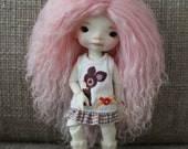 Cute Cotton Candy Pink mohair wig for Littlefee / other YoSD sized / Unoa / Enyo doll