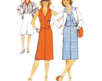 70s Skirt Blouse Waistcoat & Jacket Ensemble Pattern Burda 53333 B36 B37 B39